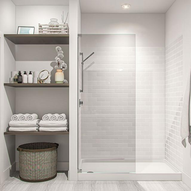 Interior view of bathroom shower area and built in linen closet